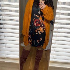 Floral long sleeve casual t-shirt dress